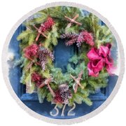 Christmas Wreath Watercolor Round Beach Towel