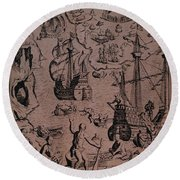 Christopher Colombus Discovering The Islands Of Margarita And Cubagua Where They Found Many Pearls Round Beach Towel