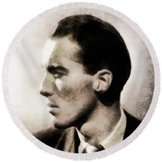 Christopher Lee, Vintage Actor Round Beach Towel