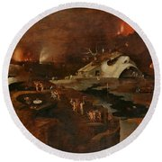Christ's Descent Into Hell Round Beach Towel