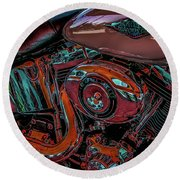 Chrome Leather And Power 1481 H_2 Round Beach Towel
