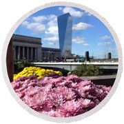 Chrysanthemums And Cirrus  Round Beach Towel