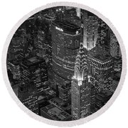 Chrysler Building Aerial View Bw Round Beach Towel