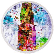 Chrysler Building Colored Grunge Round Beach Towel
