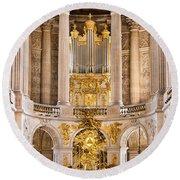 Church Altar Inside Palace Of Versailles Round Beach Towel
