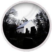 Church And Cemetary- Lens Round Beach Towel
