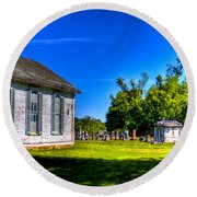 Church And Graveyard Round Beach Towel