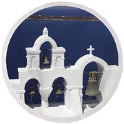 Church Bells And The Sea Round Beach Towel