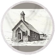 Church Bodie Ghost Town California Round Beach Towel