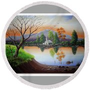 Church By The Lake Round Beach Towel