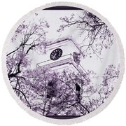 Church Clock In Autumn Round Beach Towel