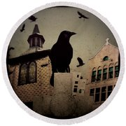 City Church Crows Round Beach Towel