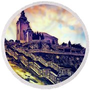 Church Dominant With Decorative Historical Staircase, Graphic Work From Painting. Round Beach Towel