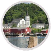 Church In Boothbay Round Beach Towel