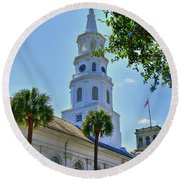 Church In Charleston Round Beach Towel