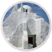 Church In Mykonos Round Beach Towel