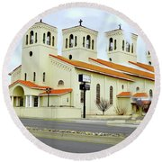 Church In New Mexico Multiplied Round Beach Towel