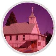 Church In Spirit Lake Idaho  Round Beach Towel