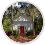 Church In Spring Round Beach Towel