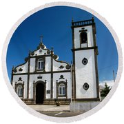 Church In The Azores Round Beach Towel