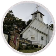 Church In The Country Round Beach Towel