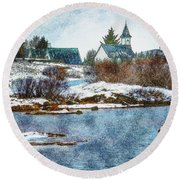 Church In Thingvellir Round Beach Towel