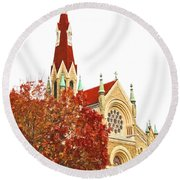 Church Next Door Round Beach Towel