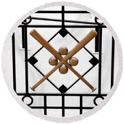 Church Of Baseball Round Beach Towel