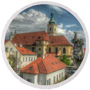 Church Of Our Lady Victorious Round Beach Towel