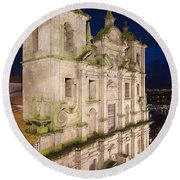 Church Of Saint Lawrence By Night In Porto Round Beach Towel