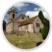 Church Of St. Lawrence West Wycombe 3 Round Beach Towel