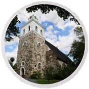 Church Of The Holy Cross At Rauma Round Beach Towel