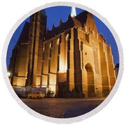 Church Of The Holy Cross By Night In Wroclaw Round Beach Towel