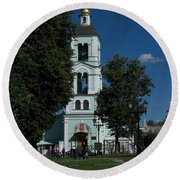 Church Of The Holy Mother Of God The Source Of Life At Tsaritsyno Park Round Beach Towel