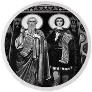 Church Of The Saviour On Spilled Blood, Saint Petersburg #3.    Black And White Round Beach Towel