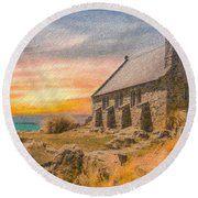 Church On The Hill Round Beach Towel