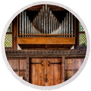 Church Organ Round Beach Towel