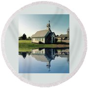 Church Reflection Round Beach Towel