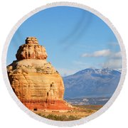 Church Rock Utah Round Beach Towel