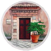 Church Side Door - Taormina Sicily Round Beach Towel