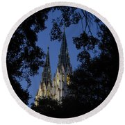 Church Steeples Round Beach Towel