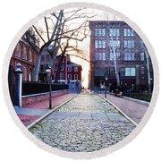 Church Street Cobblestones - Philadelphia Round Beach Towel by Bill Cannon