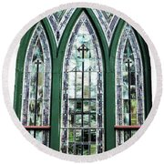 Church Window Round Beach Towel