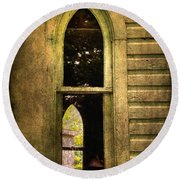 Church Window Church Bell Round Beach Towel