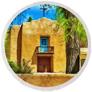 Church With Blue Door Round Beach Towel