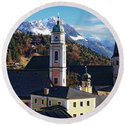 Churches In Berchtesgaden Round Beach Towel