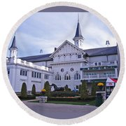 Churchill Downs Paddock Area Behind The Twin Spires Round Beach Towel