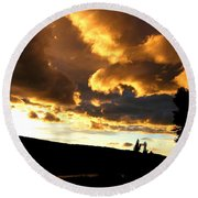Churning Clouds 1 Round Beach Towel