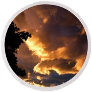 Churning Clouds 2 Round Beach Towel