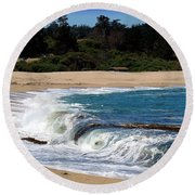 Churning Surf At Monastery Beach Round Beach Towel